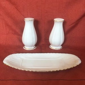 Lenox Salt and Pepper Shakers and Butter Dish